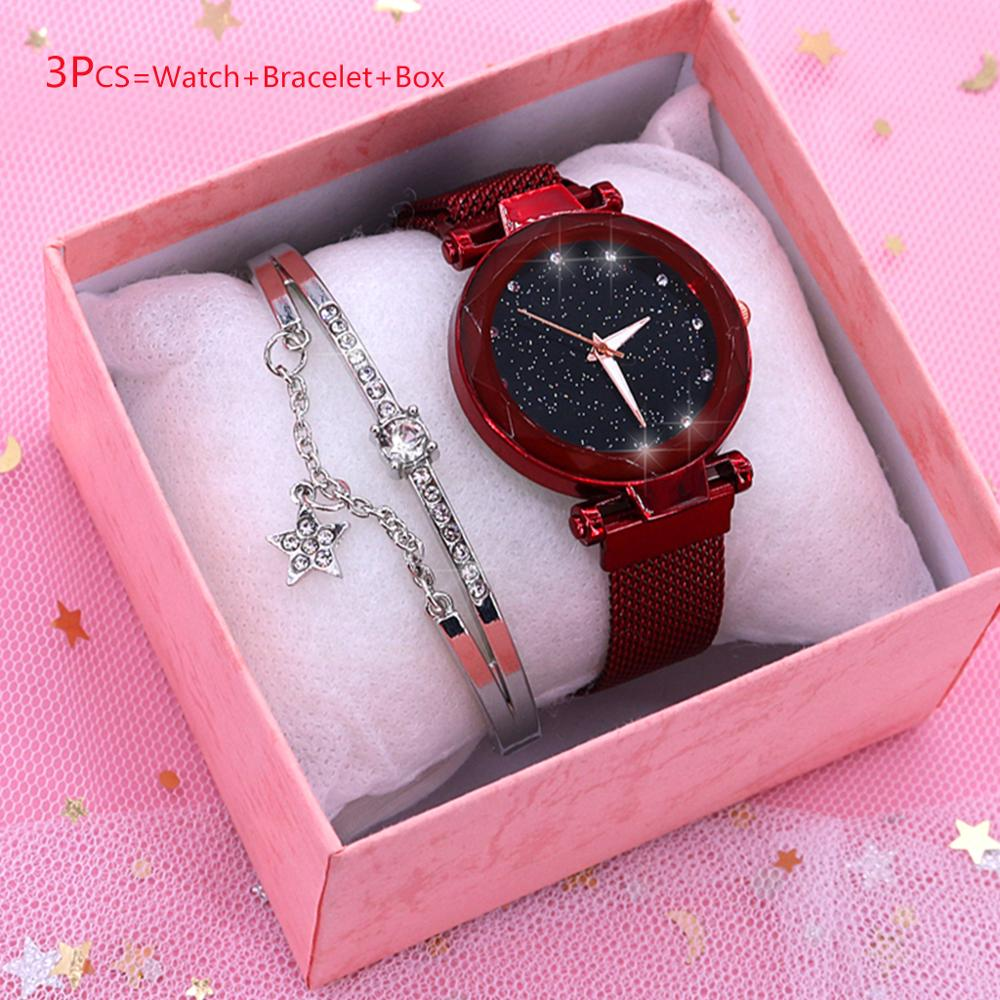 Luxury 2020 Women Watches Fashion Quartz Wristwatches Bracelet Sets Rose Gold Ladies Wacth Starry Sky Female Clock Women Gifts