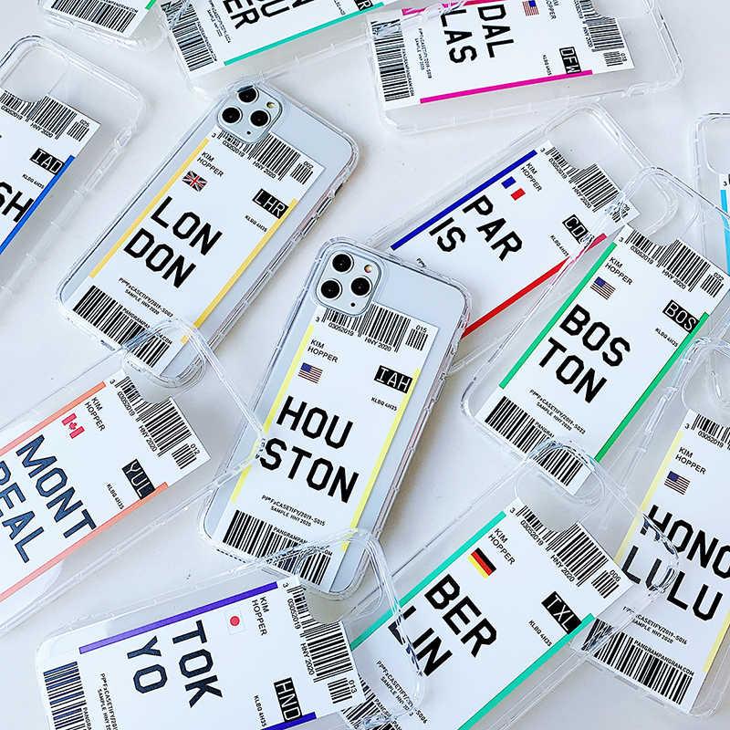 Uçak bileti abd şehir londra Paris Tokyo etiket dünya temizle iphone için kılıf 11 Pro XR XS Max 7 8 artı Houston chicago QR kod kapak