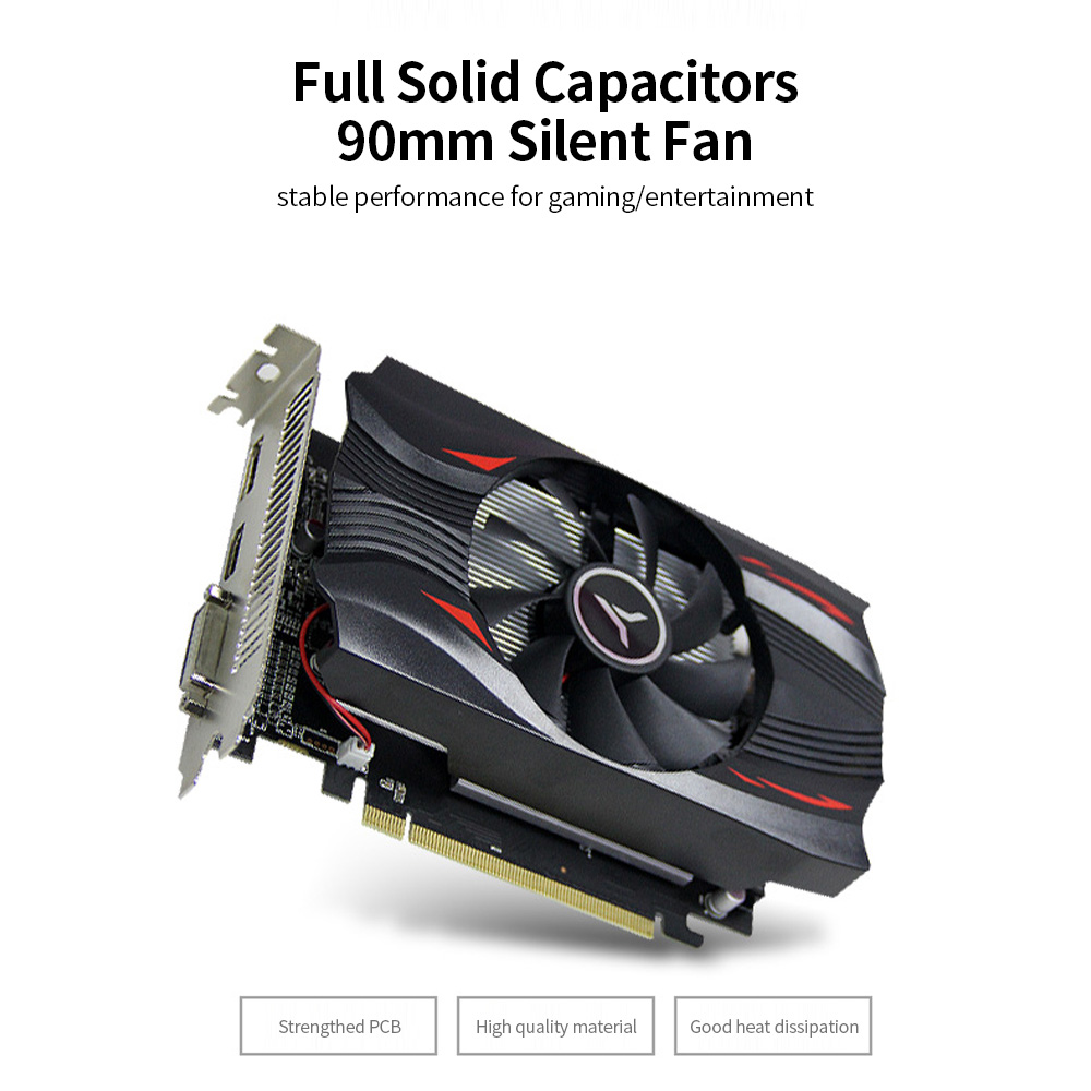yeston RX560D-4G D5 Video Card Discrete Gaming Graphics Card 1176MHz/6000MHz 4G/128bit/GDDR5/DP+DVI-D+HDMI Desktop Video Cards 2