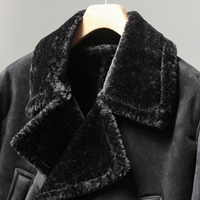 Men's Thick Fur Lining, Long Double Breasted Suede Leather Coat