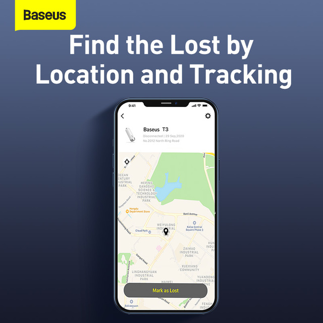 Baseus 2Pcs Intelligent Rechargeable Anti-lost Tracker Wireless Smart Tracker Key Finder Child Bag Wallet Finder Alarm Tag