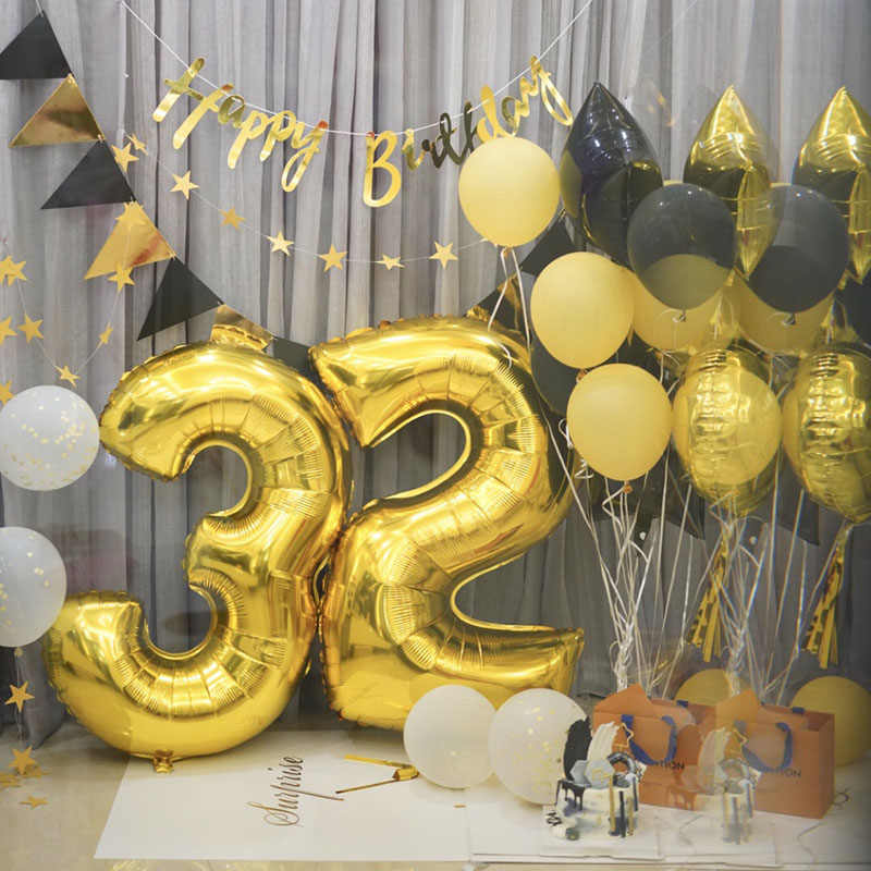 40Inch Big Foil Balloons Gold Red Green Number Balloon Wedding Birthday Party Globos DIY Baby Shower Anniversary Digit Balloon