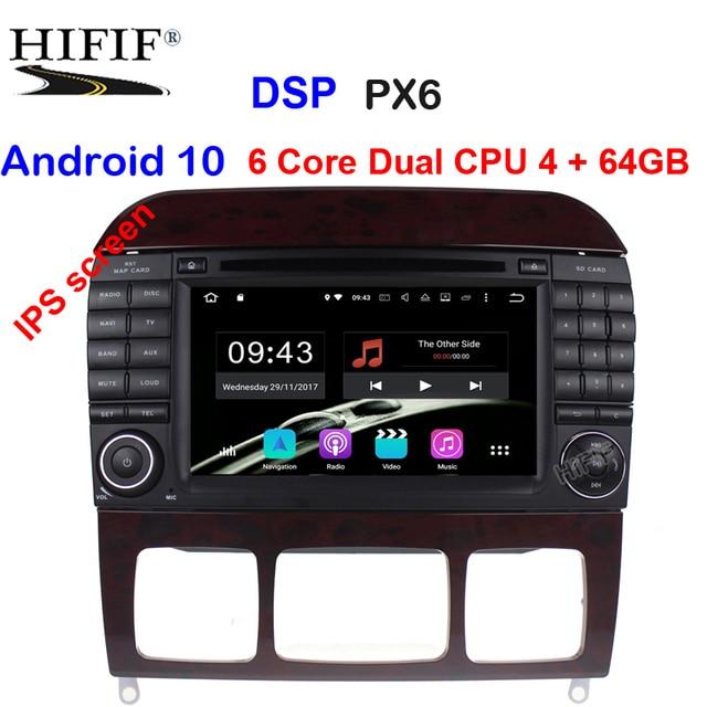 Android 10 7 นิ้วเครื่องเล่นวิทยุสำหรับรถยนต์ Mercedes Benz/S320/S350/S400/S500/w220/W215/C S Class 4G RAM 3G/4G WIFI วิทยุ GPS