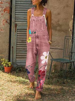 Women Rompers Fashion Denim Bib Pants Sexy Long Rompers Bib Pants Jumpsuits Summer Wide Leg Jeans Overalls Ladies Jumpsuit