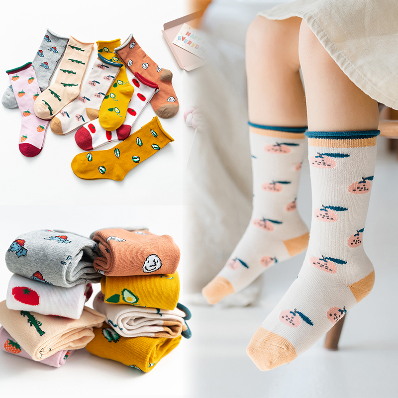 Spring 2020 Girl Knee High Socks Fruit Tide Socks Kids Kids Baby Leg Warmers Cotton Cute Cartoon Socks With Cotton Pattern
