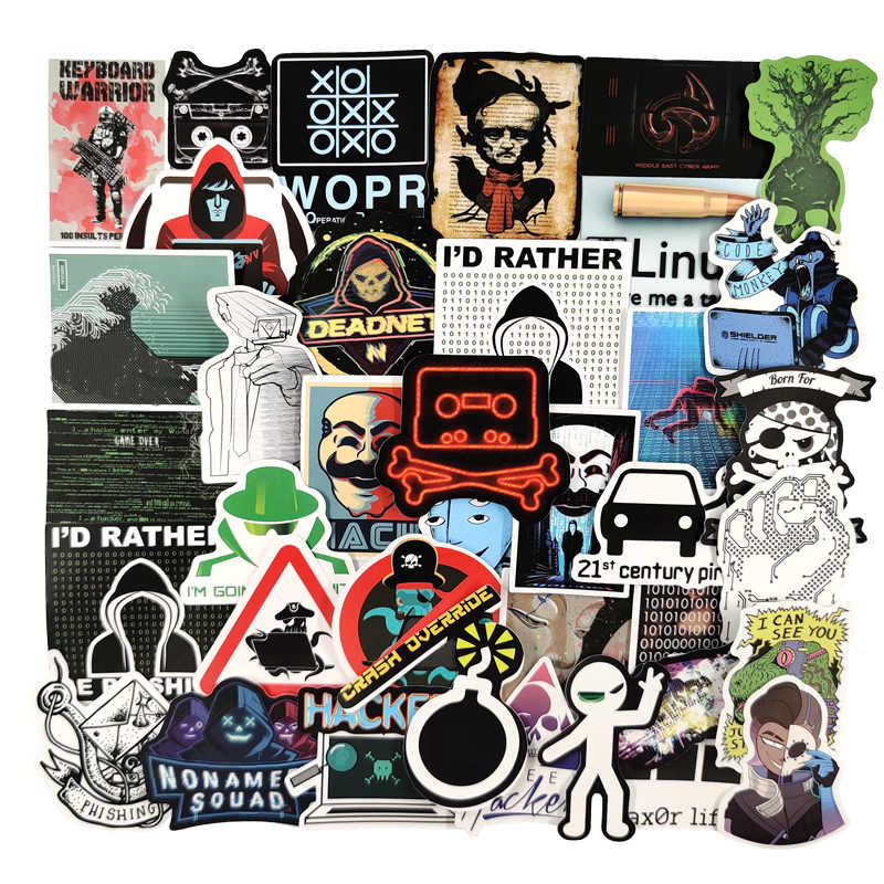 DZCYAN 50 Pcs//Set Hacker Graffiti Stickers Programming Sticker for Luggage Laptop Notebook Refrigerator Car Motorcycle Toy Phone
