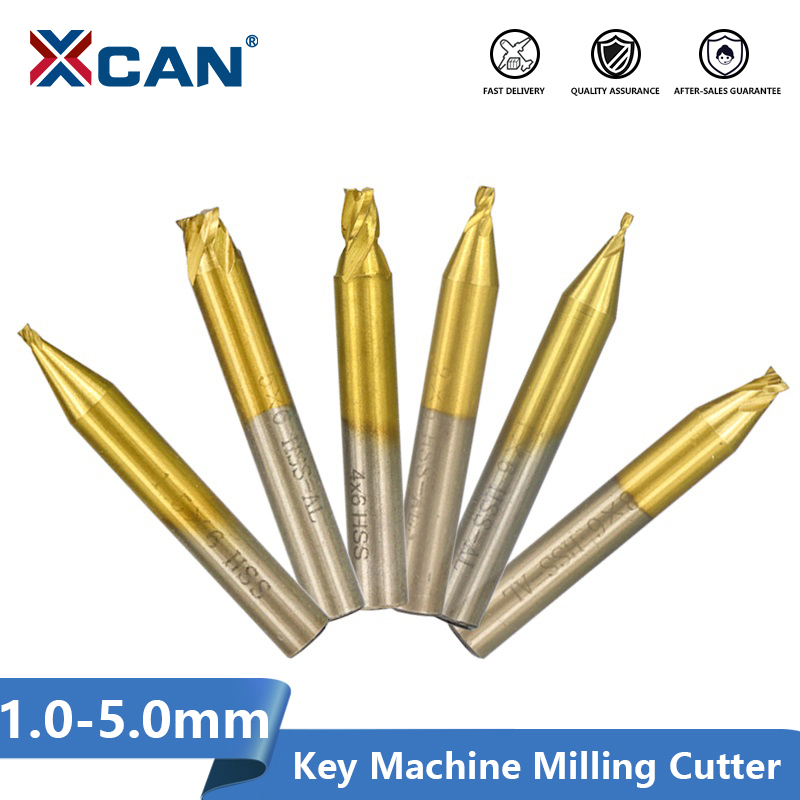 XCAN 1pc 1.0/1.5/2.0/2.5/3.0/4.0/5.0mm Milling Cutter For Vertical Key Cutting Machine Locksmith Tools 6mm Shank Key Cutter