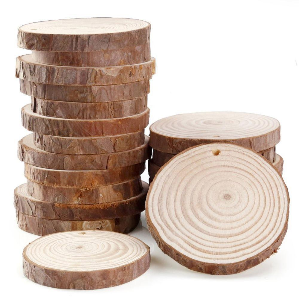 Circles Log-Discs Decorative Wood-Slices Diy Craft Round Tree-Bark Wedding-Party Natural title=