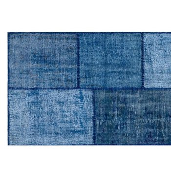 手作りブルーヴィンテージ overdyed パッチワークラグマット 160 × 230 Cm-5 '3''x7'7''
