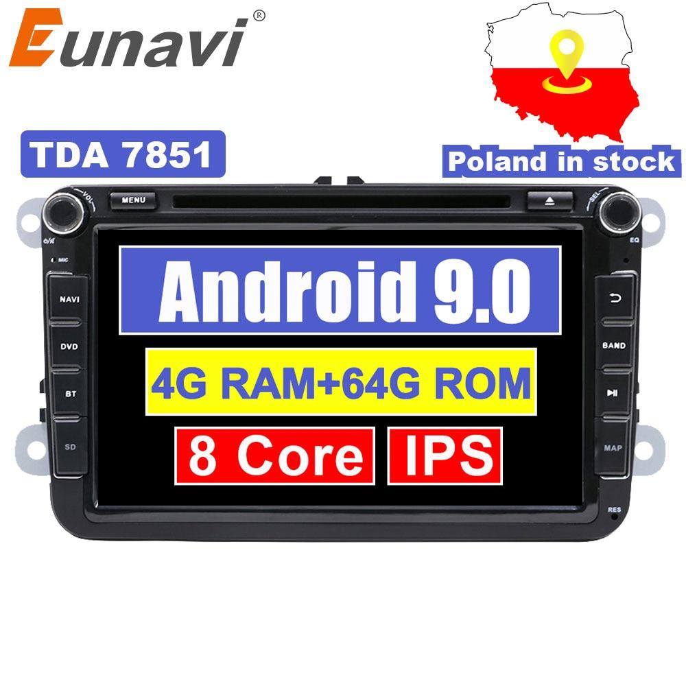Eunavi 8 ''9 2 din Android rádio do carro dvd para VW Volkswagen Polo Jetta passat b6 b7 cc fabia skoda Tiguan Touran golf 6 GPS Navi