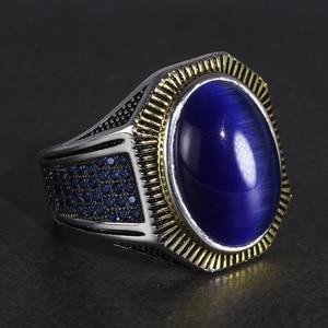 Image 5 - Garanti 925 bagues en argent Sterling Antique hommes turquie anneaux avec naturel Bule yeux de tigre pierres bijoux turcs Anello Uomo