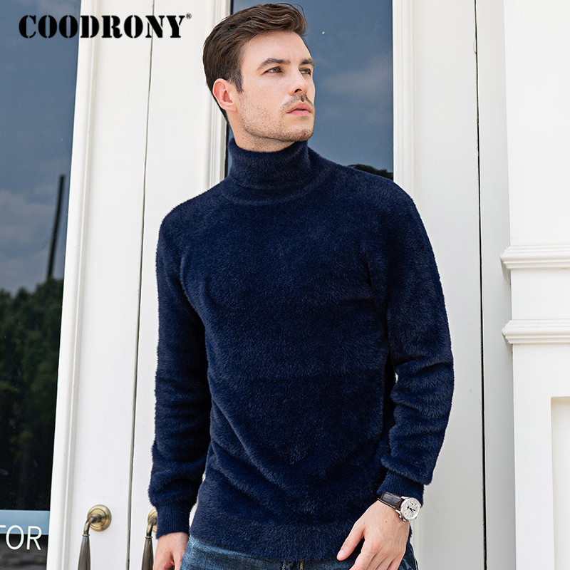COODRONY Brand Fleece Knitwear Turtleneck Men Fashion Casual Pull Homme Autumn Winter Thick Warm Sweater Men Jersey Hombre C1027
