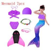 mermaid tail Swimming Girls Kids Costume Mermaid Children Cosplay fantasia Swimsuit Beach Bikini can add Monofin Fin