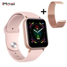 Q10 relógio inteligente freqüência cardíaca rastreador de fitness banda masculino feminino tela sensível ao toque completa banda dupla substituível ip67 à prova dip67 água smartwatch