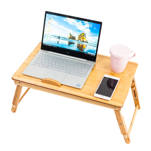 53cm Trendy Double Flowers Engraving Pattern Adjustable Bamboo Computer Desk Wood Color (12.2 x 8.5 x 2.7)cm