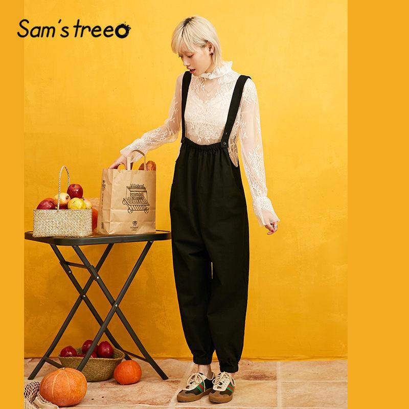SAM'S TREE Black Solid Minimalist Style Overall Jumpsuit Women 2019 Winter Loose Casual Pure Office Ladies Bodysuit Women
