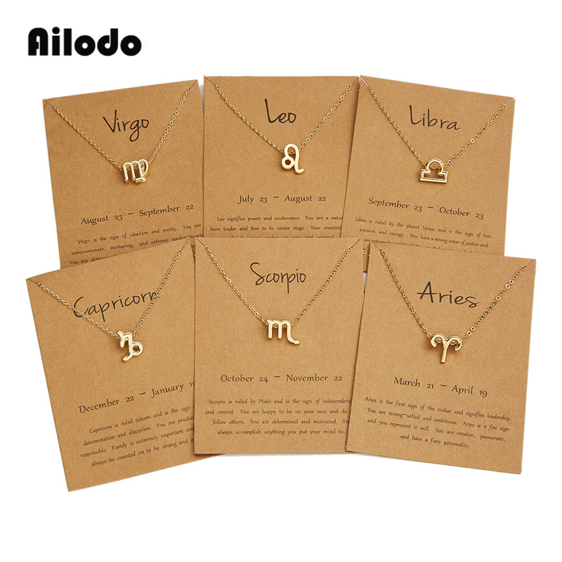 Ailodo Men Women 12 Horoscope Zodiac Sign Gold Pendant Necklace Aries Leo 12 Constellations Jewelry Kids Christmas Gifts 19NOV91|Pendant Necklaces| |  - AliExpress