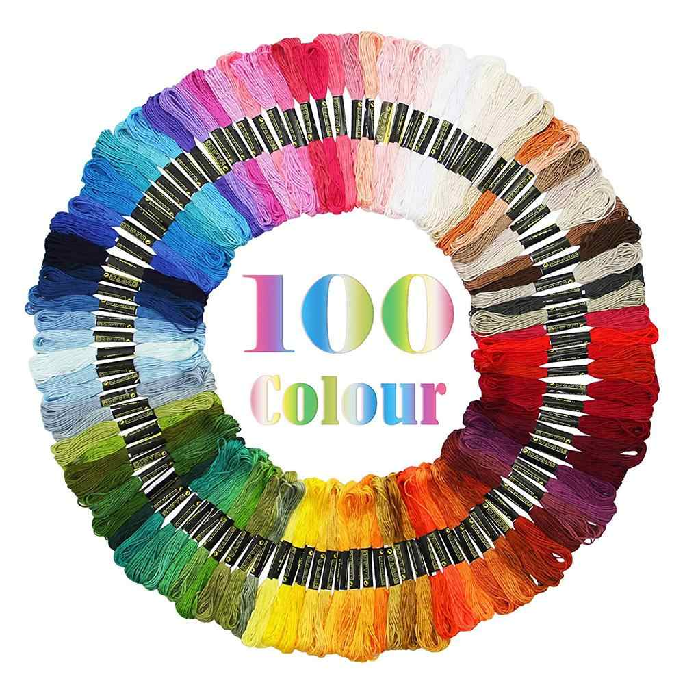 New 6 Strands 100 Rainbow Color Embroidery Cross Stitch Threads Floss DIY Craft