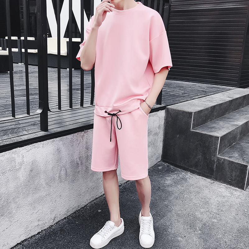 Mens Tracksuit Sets Brand Two Piece Suit Tracksuit 2019 Male Casual Tshirts Workout Fitness Sets Jogger Suits For Men Pink Short