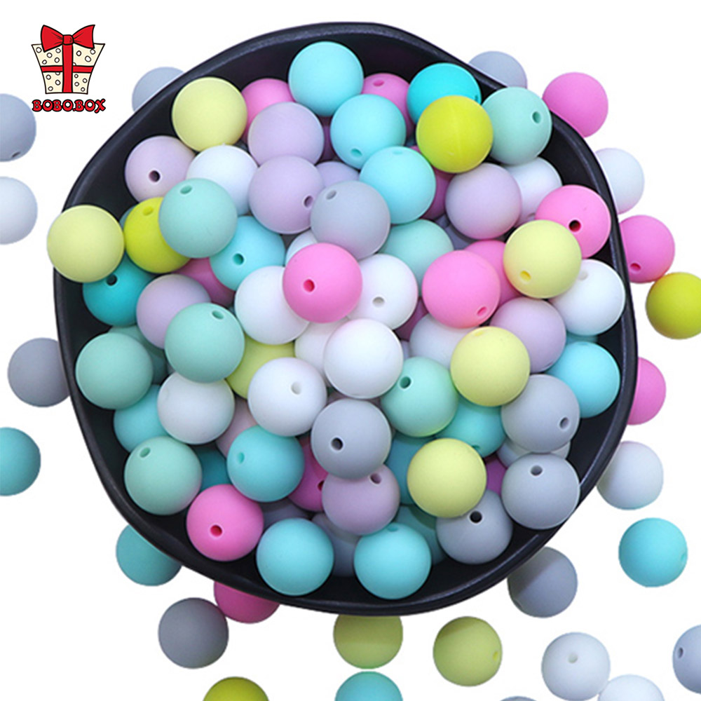 BOBO.BOX Silicone Beads 9mm 50pcs/lot Teething Necklace Round Silicone Bead Baby Teether Toy Silicone BPA Free Newborn Nursing
