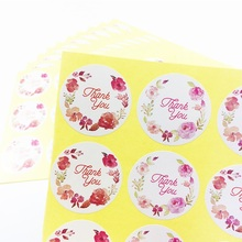 120pcs/lot contracted Thank you Flower Circular Sealing Stickers DIY Baking Packaging Decoration Label
