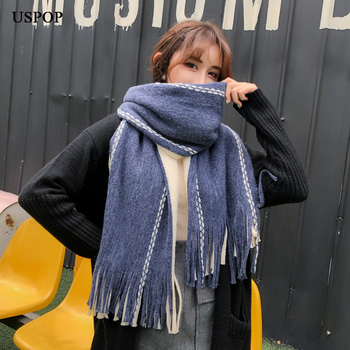 USPOP New fashion women scarves large long pashmina female color blocking tassel scarf winter thick faux cashmere scaf
