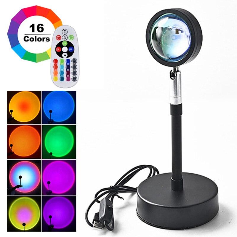Lámpara de proyección de atardecer RGB con Control remoto, luz Led de ambiente arcoíris para el hogar, dormitorio, tienda, decoración de fondo de pared, nueva