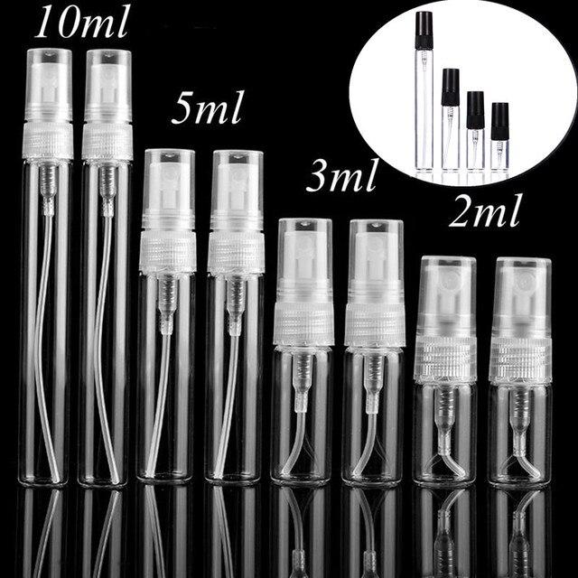 5 sztuk/paczka 2ML 3ML 5ML 10ML czarny przezroczysty Mini szklana buteleczka na perfumy pusta butelka na kosmetyki próbka probówki cienkie szkło fiolki