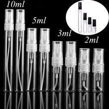 5 unidades/Paquete de 2ML, 3ML, 5ML, 10ML, Mini botella de cristal transparente negra, botella de cosméticos vacía, tubo de prueba, viales de vidrio fino