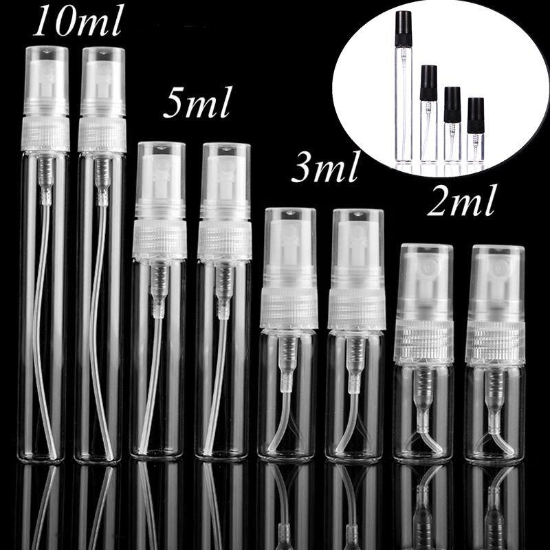 5pcs/pack 2ML 3ML 5ML 10ML Black Clear Mini Perfume Glass Bottle Empty Cosmetics Bottle Sample Test Tube Thin Glass Vials-0