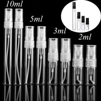 5pcs/pack 2ML 3ML 5ML 10ML Black Clear Mini Perfume Glass Bottle Empty Cosmetics Bottle Sample Test Tube Thin Glass Vials