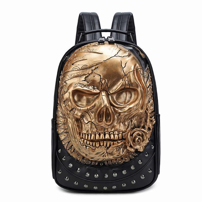 JIEROTYX remache 3D calavera esqueleto en relieve bolso de hombro mochila de viaje restaurar Halloween Cool gótico tallado mochila