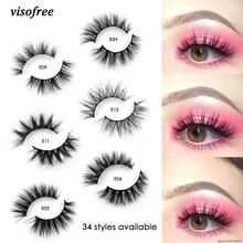 VISOFREE − Faux-cils en vison 3D, 100% sans cruauté, poils naturels réutilisables, faits à la main, populaires, maquillage des yeux