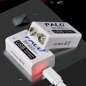 Image 5 - PALO 4pcs USB 9V 6F22 650mAh Rechargeable Battery 9 volt 650 mAh lithium li ion li ion liion fast charging batteries