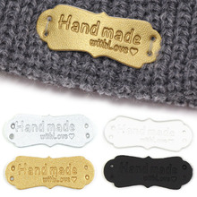 50Pcs 41x16mm Handmade Tags Handmade Faux Leather Knitting Label For Clothes Handmade With Love PU Label For Bag Sew Accessories