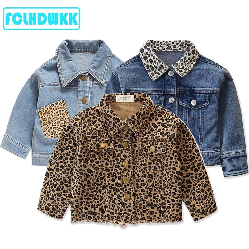 New Fashion Girls Spring Autumn Denim Jacket Leopard Print Coat Baby Girls Cartoon Jean Jackets Kids Coats Children Clothing 2-6