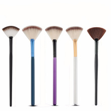 1pcs/lot Makeup tool 17.5cm brush Tools Accessories Fan Shape Makeup Brush Highlighter Face Powder Brush For Face Make Up недорого