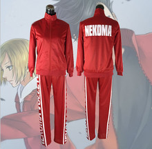 Haikyuu Nekoma Hoge Jas + Broek Cosplay Uniform Tetsurou Kuroo Kozume Kenma Kostuum Set Volleybal Team Rode Sportkleding Uniform(China)