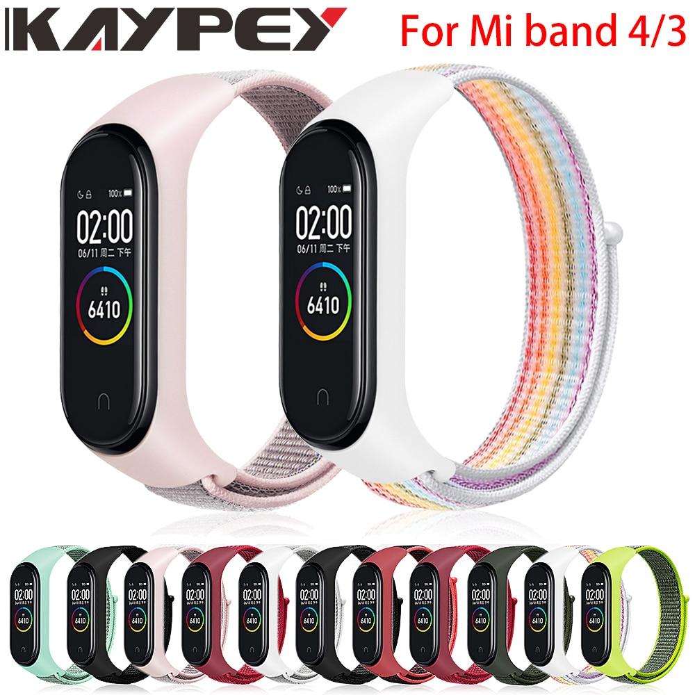 Velcro nylon strap for xiaomi mi band 4 bracelet NFC smart Watch replacement xiaomi mi band 3 colorful strap anti-lost wristband(China)