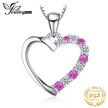 цены JewelryPalace Romantic 0.6ct Created Pink Sapphire Heart Pendant Genuine 925 Sterling Silver Wedding Fine Jewelry Without Chain