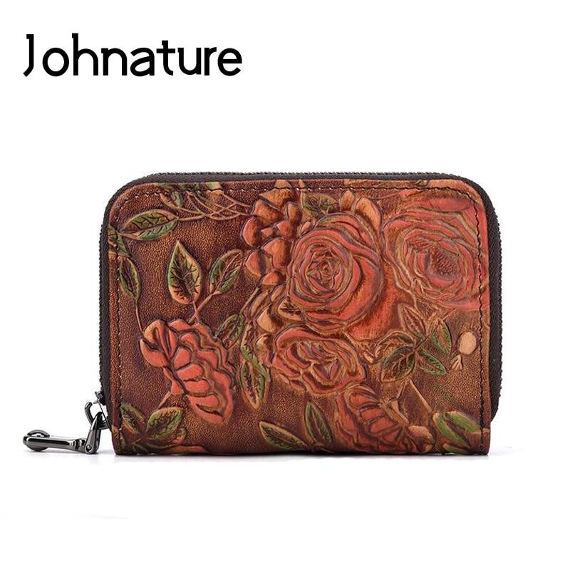 Feminina para Cartões de Crédito Titular do Cartão Johnature Vintage Floral Zíper Couro Genuíno Carteira Moeda Bolsa Multi-cartão Posição 2020new