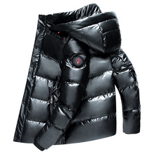 High Quality Men Winter White Duck Down Parka Thick Warm Hoo