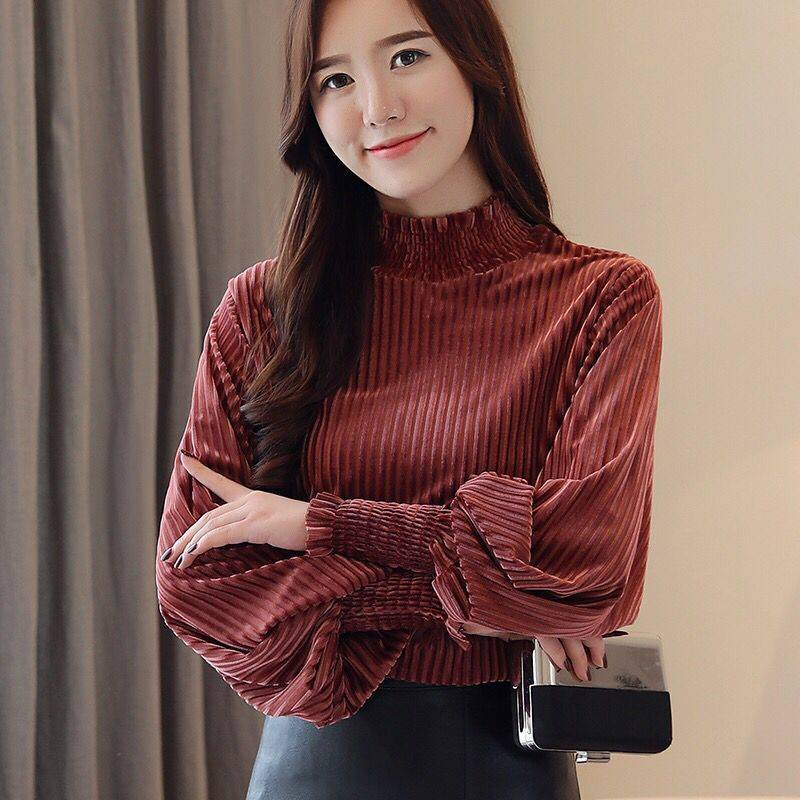 Autumn New Korean Plus Size Roupa Feminina Casual Brief Loose Camisas Gold Velvet Stand Lantern Sleeve Women Blouses
