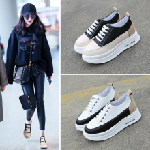 YeddaMavis Shoes Black Women Shoes Women Sneakers New Korean Muffin Shoes Thick Bottom Lace Up Shoes Womens Shoes Woman Trainers new autumn female shoes korean thick bottom platform increased single shoe woman muffin bottom lace up student sport shoes white
