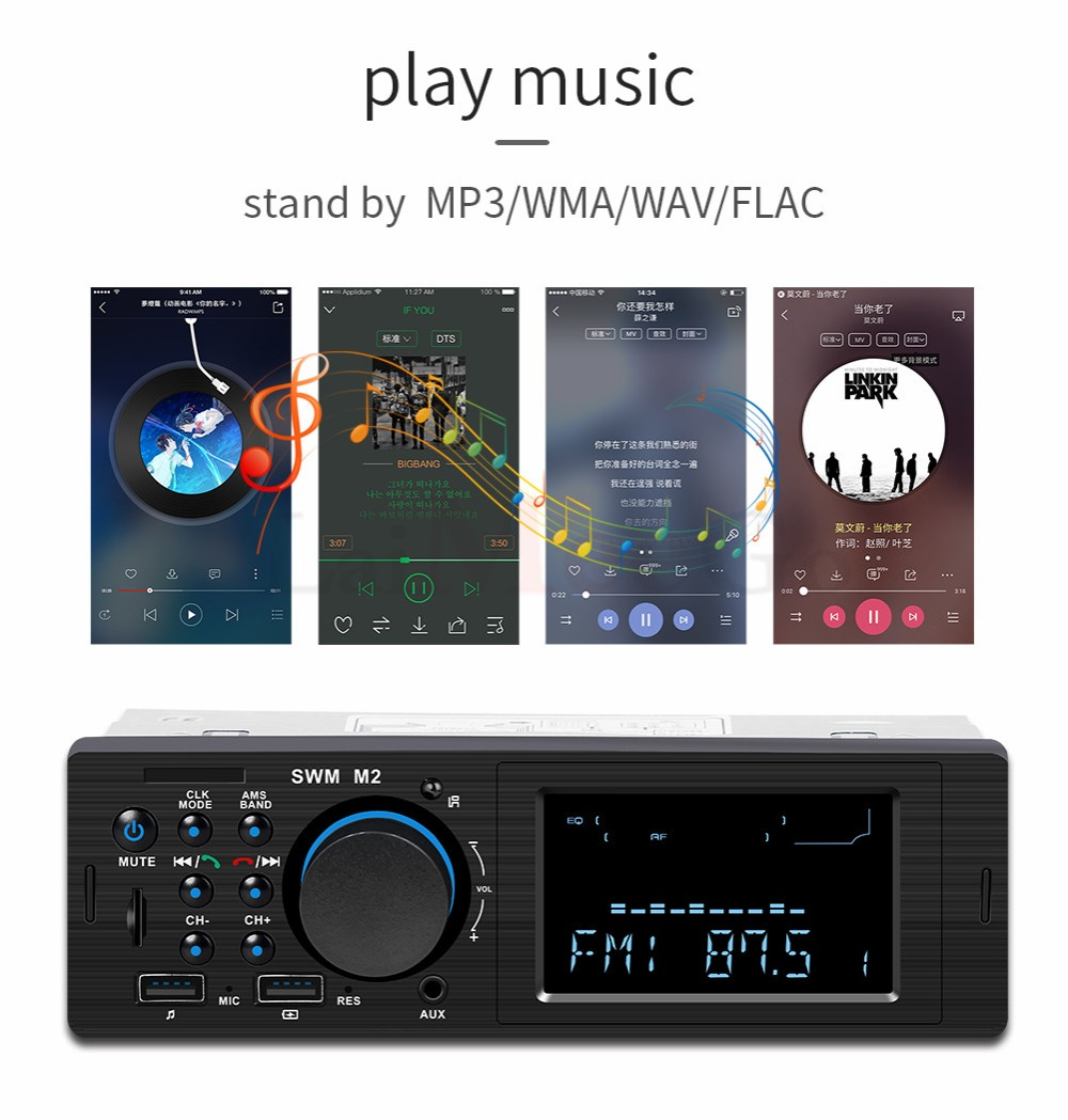 Bluetooth FM AUX Mp3 Bluetooth Car Radio Stereo Receiver 1 Din Auto Cars Audio Modulator Central Multimedia Cassette player (23)