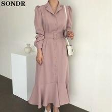Элегантное женское Платье макси с отложным воротником длинным