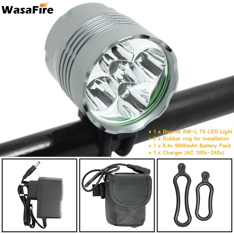 WasaFire 5x T6 LED <font><b>Bicycle</b></font> <font><b>Light</b></font> Headlight <font><b>7000</b></font> <font><b>Lumen</b></font> Farol Bike <font><b>Light</b></font> Lamp Headlamp Lanterna with 18650 Battery Pack + Charger image