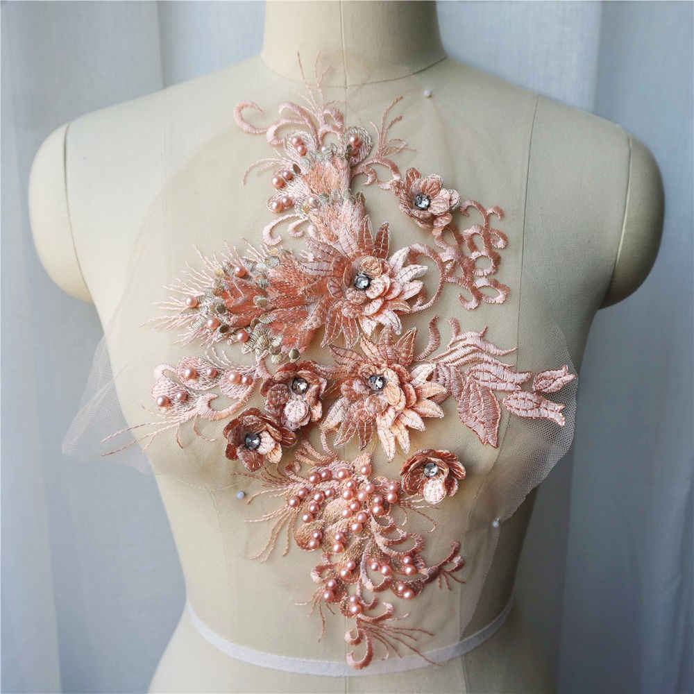 Champán Flor de tela de encaje cuentas bordado vestido adornos de apliques Collar de malla de coser parche para la decoración de la boda Vestido DIY