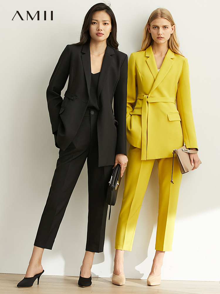 Amii Spring Occupational Solid Suit Casual Lapel Slim Suit Jacket, High Waist Nine-minute Trousers, Two-piece Suit 11930261