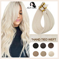 Full Shine Hair Bundles 10A Hand Tied Weft 100% Virgin Human Hair Sew In Hair Weft Handmade Silky Straight Invisible Brazilian